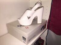 OFFICE white snakeskin heels never worn bought for £60 selling for £25