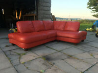 xDFS Red leather corner sofa DELIVERY AVAILABLE