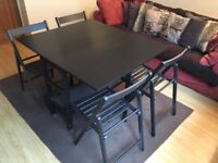 Drop Leaf Table and 4 Fold Away Chairs Set