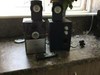 Philips CD, Radio and Cassette player with remote and subwoofer speakers