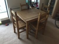 Wooden dining table and4 chairs