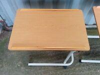 One Pine Effect adjustable Bedside Table on wheels for sale