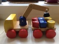 Wooden Truck Crane Loader Toy