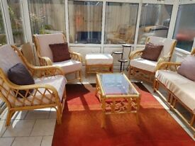 8 seater conservatory furniture + coffee table + footstool