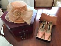 Peach hat with trim, Peach leather shoes, Peach leather bag