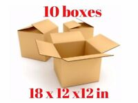 New/Unused single walled packing box 18 x 12 x 12 in or 457 x 305 x 305 mm (L x W x D)