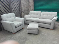 SCS Vigo beige suit sofa settee chair footstole in very good condition // free delivery