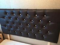 Double leather look headboard with diamanté studs