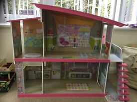Dolls House. Large Early Learning Centre VGC with furniture & family