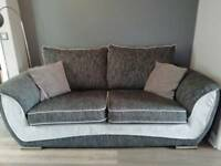 Scs sofa and swivel chair with matching half moon footstool