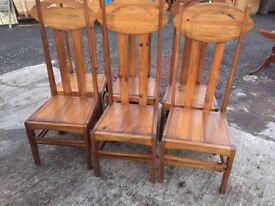 Solid wooden table and 6 chairs(Rene Mackintosh style)