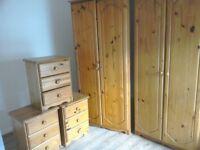 Pine wardrobe and matching drawers