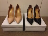Dune Pointed Heels - Patent Black & Nude - Size UK4 - 2 Pairs for £60