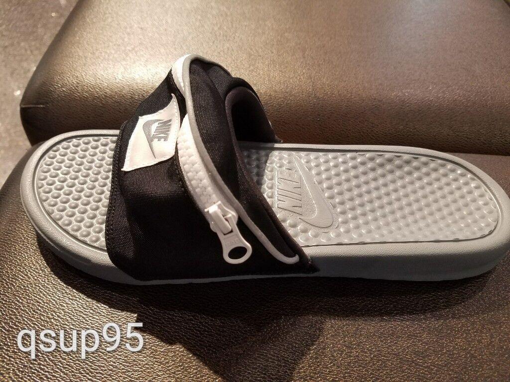 e1183983 Nike Benassi JDI Fanny Pack Slide Black White Cool Grey AO1037-001 Men's Sz  4