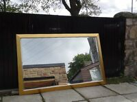 Over mantel gold coloured mirror