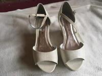 Follow me ladies wedges sandals off white cream brand new size 4/37 new £8
