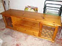 Solid pine side board, round table with drawer, nest of 2 tables, magazine / paper rack
