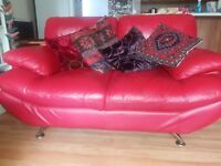 Red leather & chrome settee