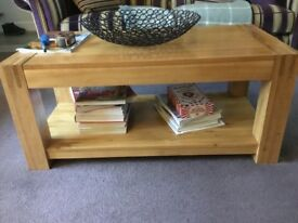 Solid oak coffee table, TV cabinet, small coffee table