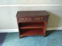 Small mahogany bookcase: one shelf, two drawers