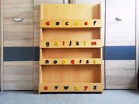Wooden Tidy Books Children Bookcase with Letters Book Storage Bookshelf