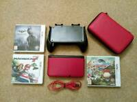 Nintendo 3DS XL Bundle: console, charger, 3 games, carry case and grip