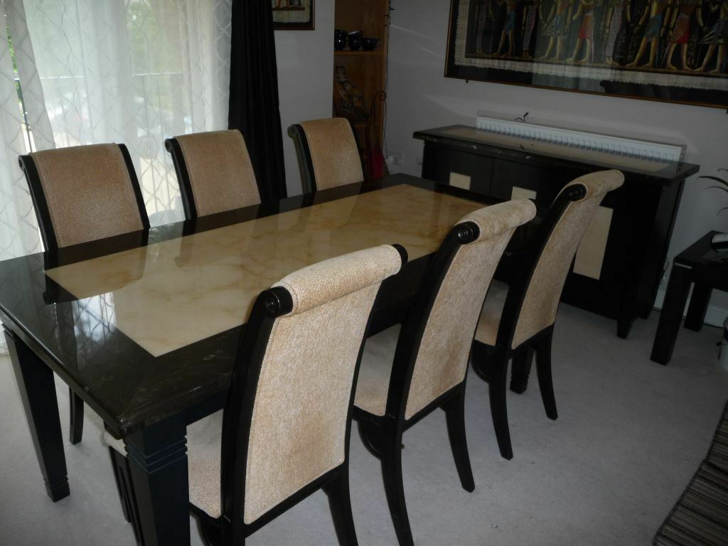 Marble Dining Table, 6 Chairs And Sideboard , Excellent