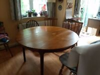 Round teak dining table 120cm, butterfly extension to 170cm, in good condition