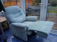 Pale green electric riser reclining chair. Excellent condition Fully operational
