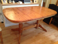 Antique pine extendible table and chairs