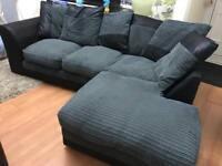 Black Leather and Grey Chord Corner Sofa
