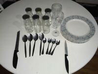 5 Plates, 2 Wine Glasses,8 Spoons, 6 glass containers for sale