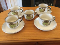 4 Denby Troubadour Teacups and Saucers + 1 Extra Cup
