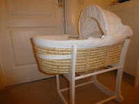 SOLD John Lewis moses basket with white wooden rocking stand - £20 only