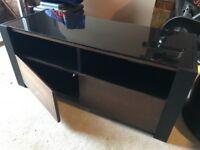 Tv Cabinet Black glass with Dark Brown wooden doors
