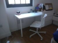 White IKEA 100cm x 60cm LINNMON desk with pre-fitted white ADILS legs (less than 1 year old!)