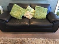 3 piece Black, real Leather sofa