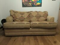 Three seater patterned sofa bed