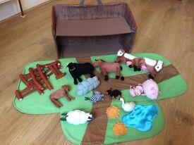 Ikea Toy farm set and fold up case.