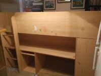 Cabin bed/mid sleeper with desk and small wardrobe