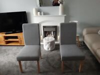 Set of 2 Grey Tweed upholstered Dining Chairs