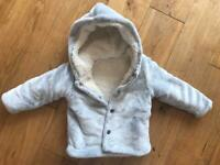 Warm grey fleece lined jacket from Next 12-18 months