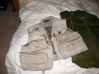 2 Fishing waistcoats and 2 Heron Anglers life jacket/bouyancy aids