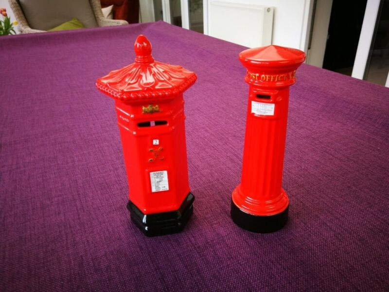 PAIR ROYAL MAIL COLLECTABLES PILLAR BOX MONEY BOXES MINT CONDITION for sale  Addlestone, Surrey