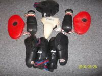 3 adult gi tops and sparring/protective equipment.