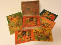 Vintage Russian 1950's Childrens Wooden Picture Building Bricks