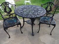 GARDEN / PATIO SET -- CAST IRON BRITANNIA TABLE WITH 2 CAST ALUMNIUM CHAIRS --