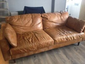 2 and 3 seater brown leather sofas £150