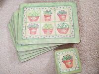 6 coasters and place mats