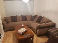 Corner sofa for sale (9ftx7ft) 1 swivle chair (45inches x 25 high from back) amazing condition!!!!